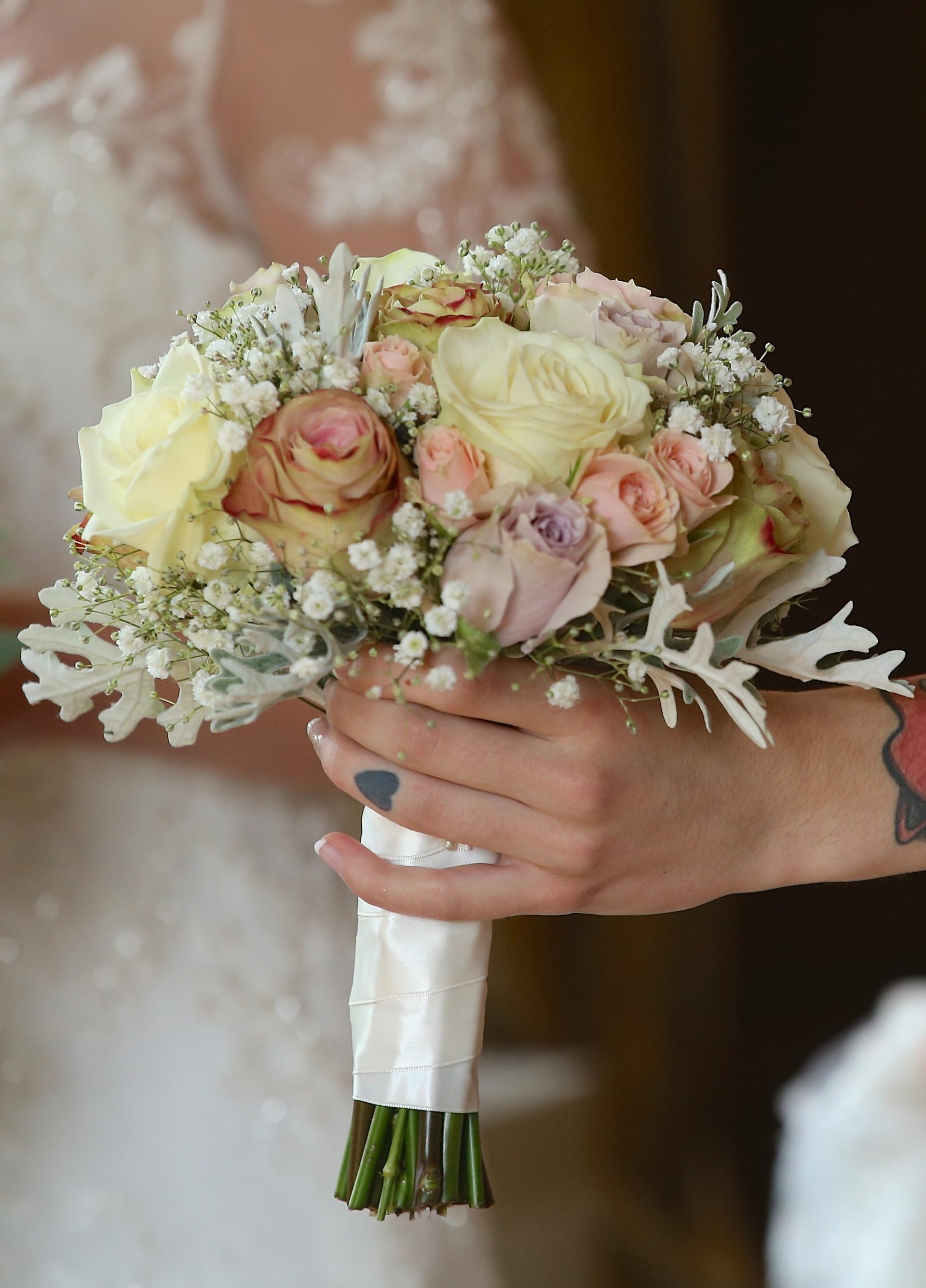 vintage pinks rose bridesmaid bouquet