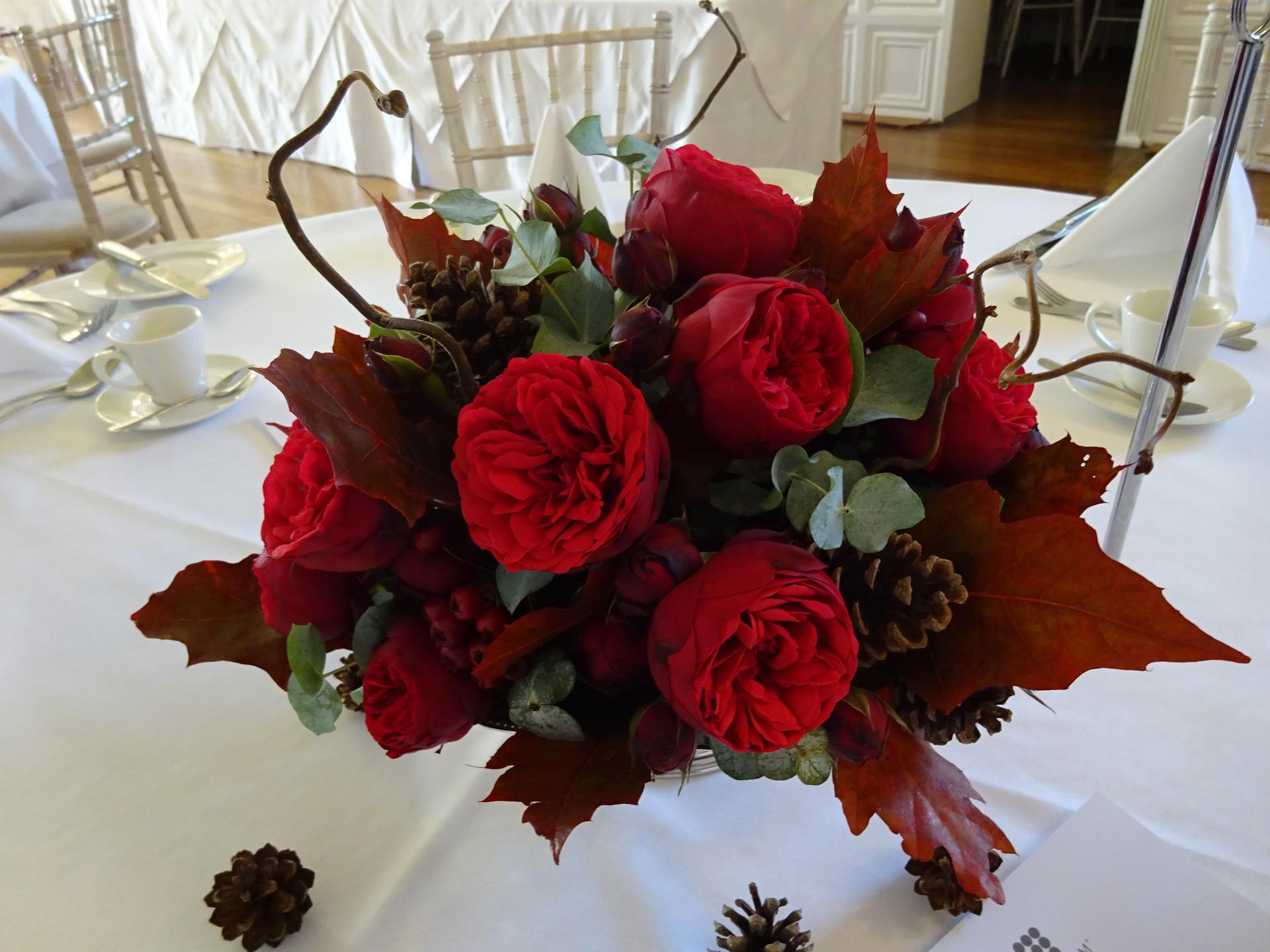 Rich autumn garden rose centrepiece
