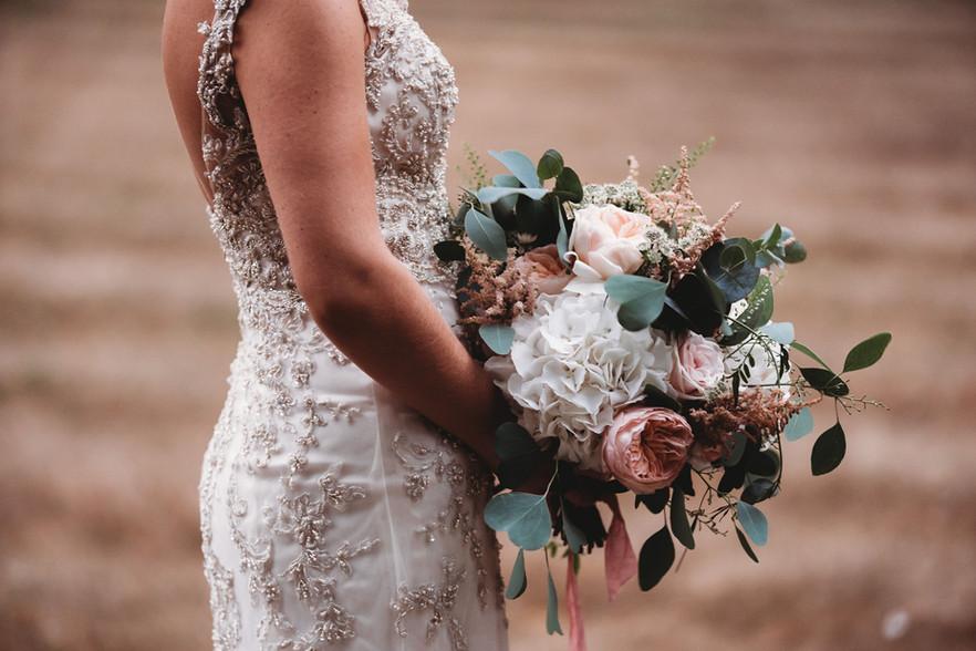 Wild garden rose and hydrangea bouquet.J