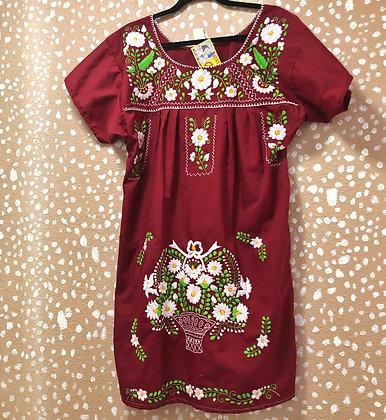 Maroon Embroidered Fiesta Dress (Medium)