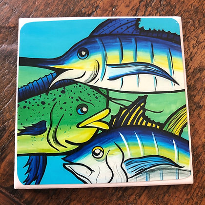 Tres Fishes Tile Coaster