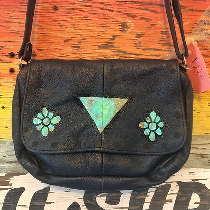 Turquoise & Navy Handpainted Leather Bag