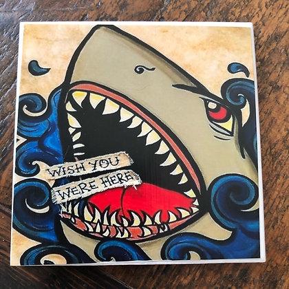 Wish You Were Here Shark Tile Coaster