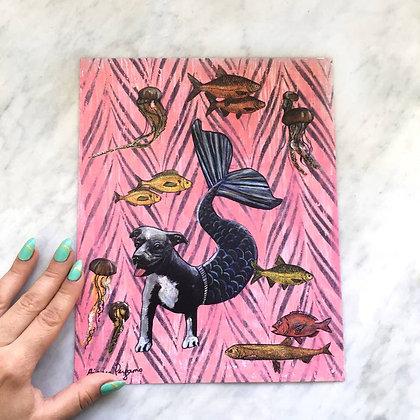 Pitbull Mermaid Dog Print