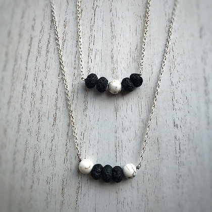 Lava Stone & Dalmation Jasper Diffuser Necklace
