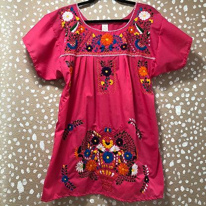 Pink Embroidered Fiesta Dress (Medium)