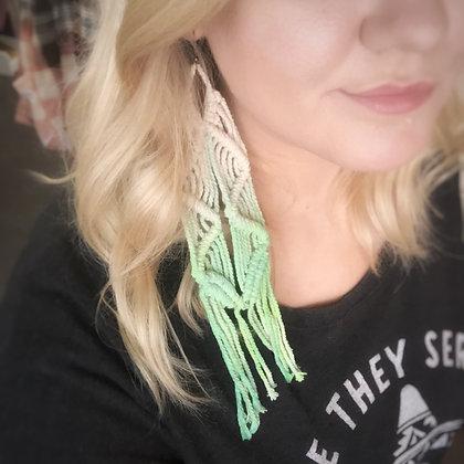 Dip Dyed Macrame Earrings