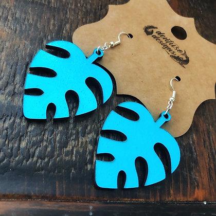Two-Tone Palm Leaf Earrings