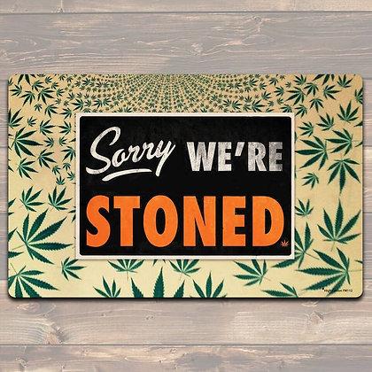 Sorry We're Stoned felt floor mat