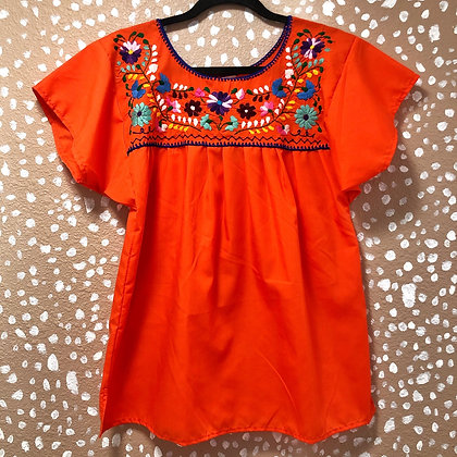 Orange Embroidered Peasant Blouse (Small)