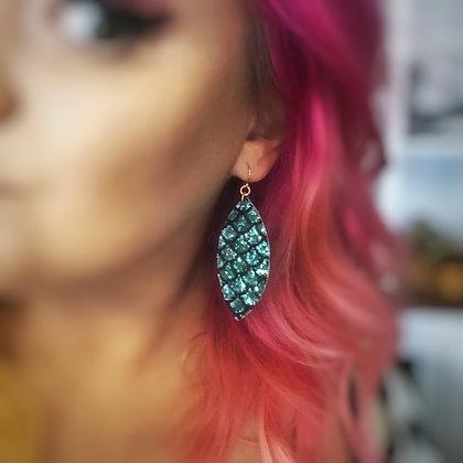 Siren Tears glitter mermaid scale earrings