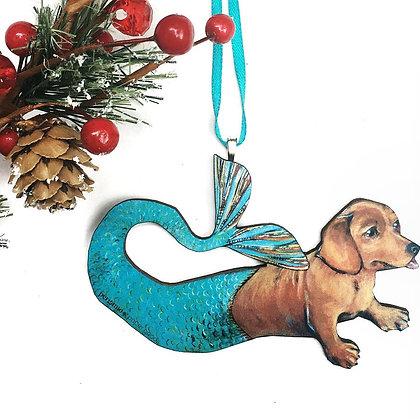 Dachshund Weiner Dog Mermaid Ornament