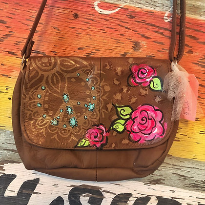 Peace & Roses Handpainted Leather Bag