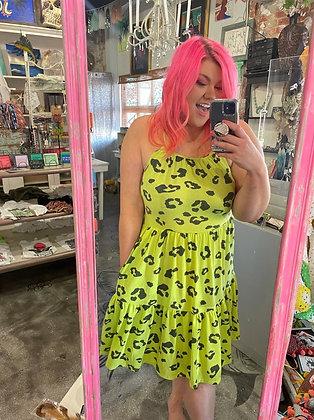 Meow! Lime! leopard print dress
