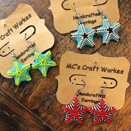 Starfish Hand Beaded Earrings