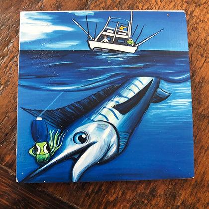 Marlin Fishing Tile Coaster
