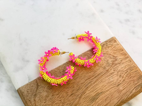 Malibu Barbie  Beaded Hoop earrings