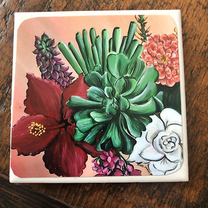 Bloom Floral Tile Coaster