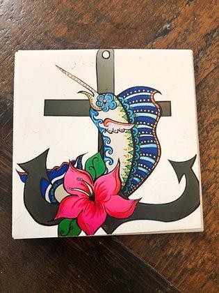 Dia De Los Sailfish Tile Coaster
