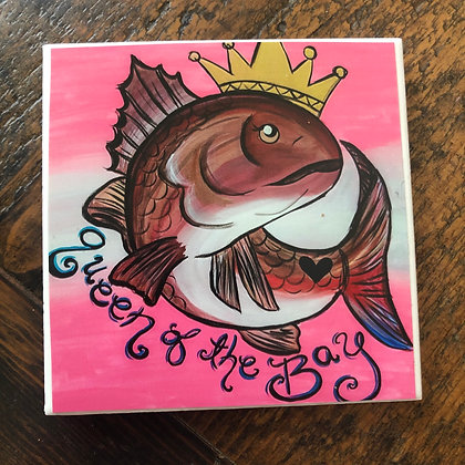 Queen of the Bay Redfish Tile Coaster