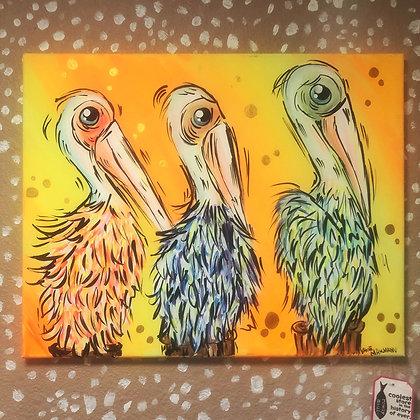 Three Amigos Pelican Painting Original