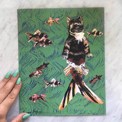 Calico Cat Mermaid Print