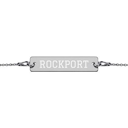 Rockport engraved silver bar chain bracelet