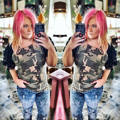 Camo & Lace Ruffle Sleeve Top