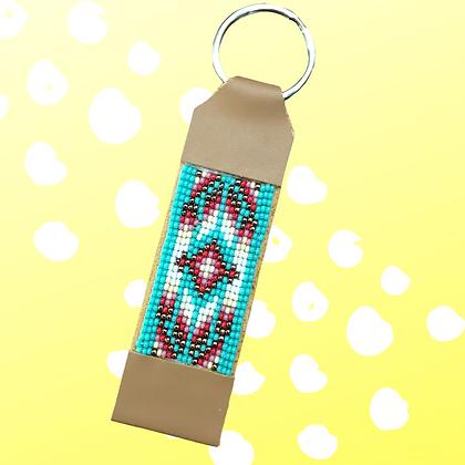 Turquoise Tribal Hand Beaded keychain