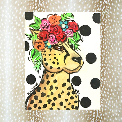 Funky Leopard Painting 8x10