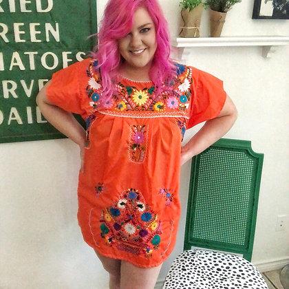 Orange Embroidered Fiesta Dress (Medium)