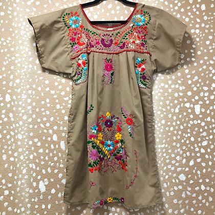 Khaki Embroidered Fiesta Dress (Small)