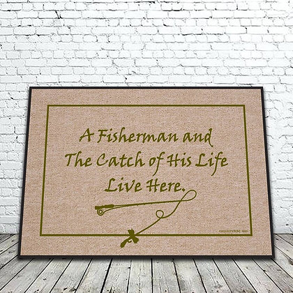 FIsherman and the Catch of His Life floor mat