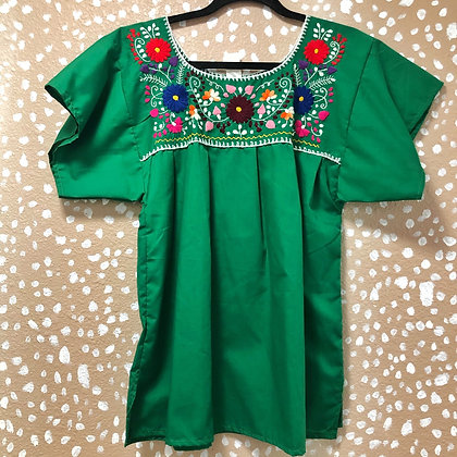 Kelly Green Embroidered Peasant Blouse (Small)