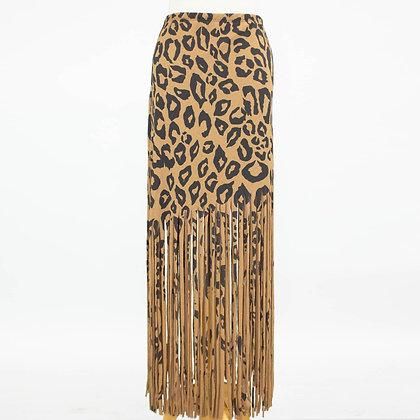 Wild About It Leopard Fringe Skirt