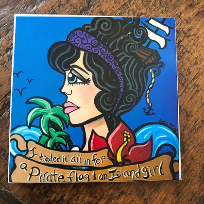 Pirate Flag & Island Girl Tile Coaster
