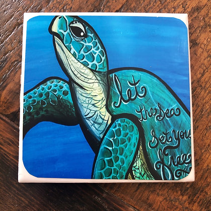 Let the Sea Set You Free Sea Turtle Tile Coaster