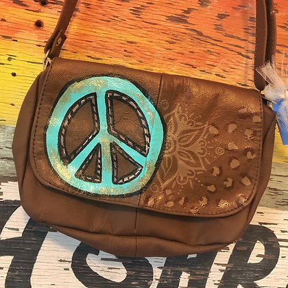 Turquoise Peace & Leopard Handpainted Leather Bag