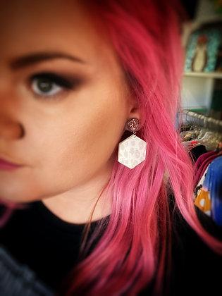 Rock Steady neutral druzy & leopard earrings