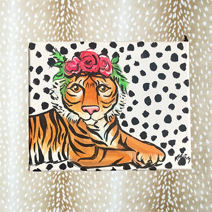 Funky Tiger Painting 8x10