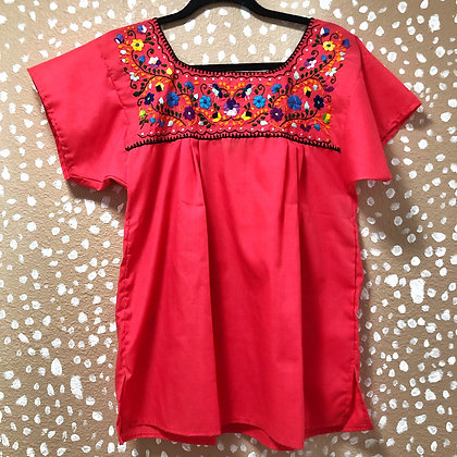 Coral Embroidered Peasant Blouse (Small)