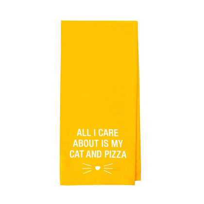 All I Care About is My Cat and Pizza tea towel
