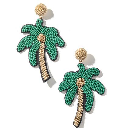 Palm Tree Beaded Earrings