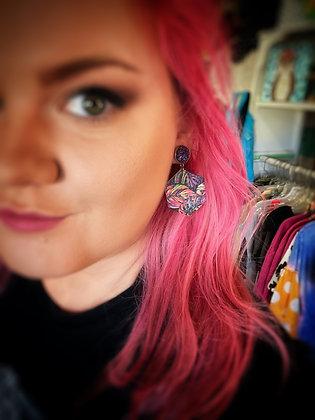 Barracuda druzy & leather earrings