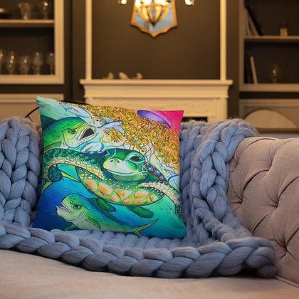 Under the Sargassum 18x18 throw pillow