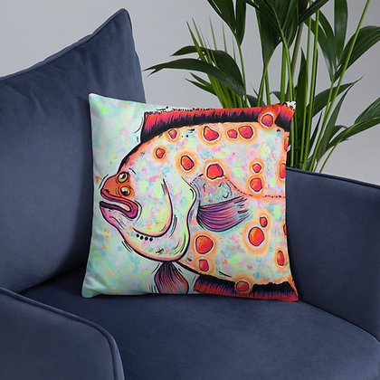 Funfetti Flounder 18x18 Throw Pillow