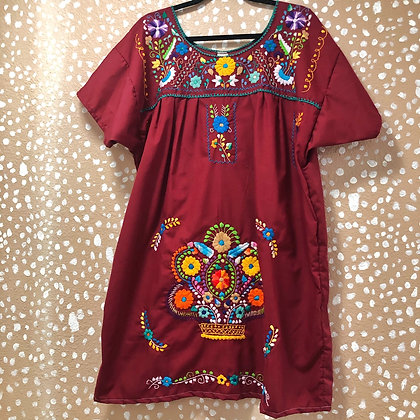 Maroon Embroidered Fiesta Dress (Large)