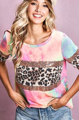 Hey Baby sequin tie dye leopard top
