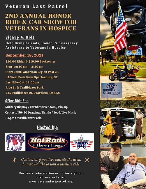 2nd Annual Honor Ride & Car Show for Veterans in Hospice