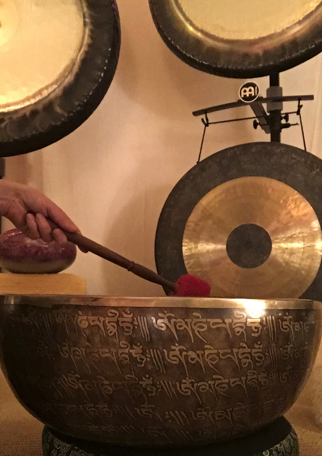 Nepalese old singing bowl and gongs